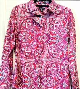 Lands End purple Fushia pink cotton shirt 6